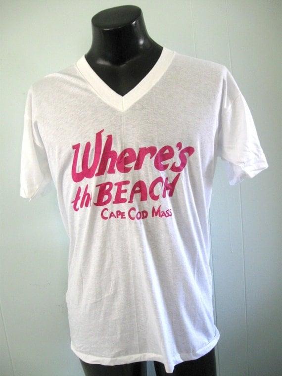 Unworn Vintage V Neck Tee Cape Cod Sailing Tshirt Pastels White Pink LARGE