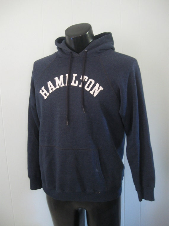 Early 80s Hamilton College Sweatshirt Hoodie NY New York School Vintage Faded Navy Blue LARGE