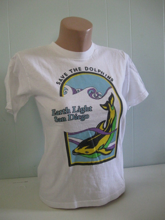 Save the Dolphins TShirt White Tee San Diego SMALL XS