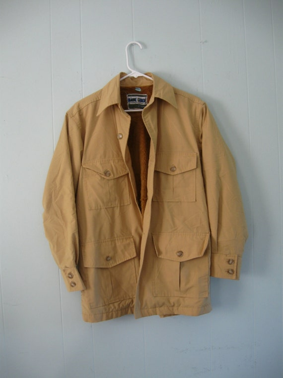 70s vintage jacket by maine guide outdoors beige 1970s