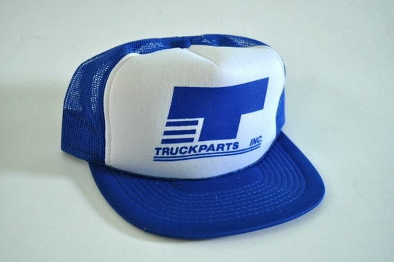 Unworn Vintage Mesh Baseball Cap Snapback 80s Trucker Hat TruckParts Inc Royal Blue White