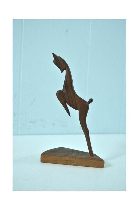 SALE Carved Wooden Doe Fawn Deer 70s 80s Vintage Artwork Mini Desk Statue