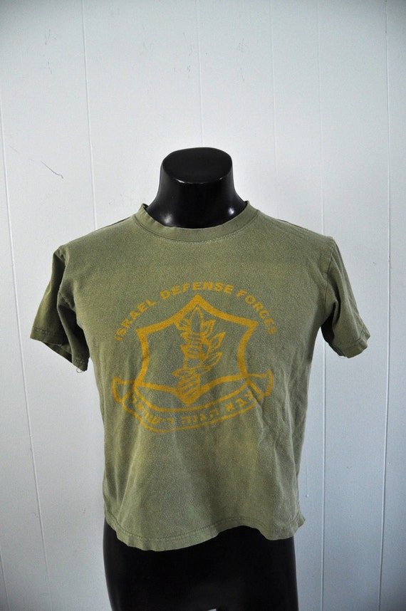Israeli Defense Forces Vintage Military TShirt Dark Army Green Soft n Thin Ladies Size Large