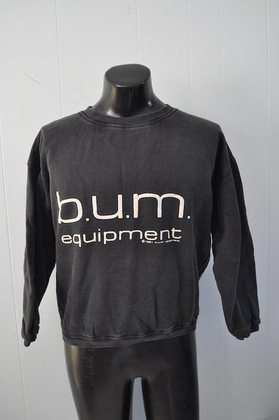 Vintage BUM Equipment Sweatshirt 90s Faded Black Workout Gear