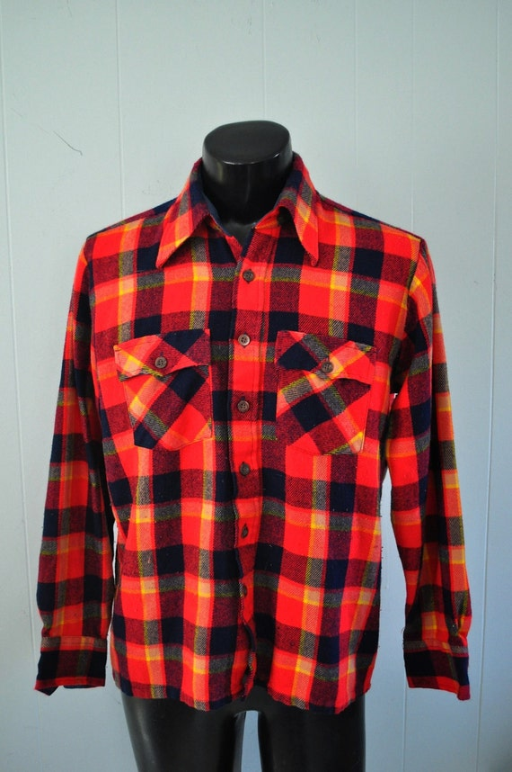 Rare Vintage Neon Red Pendleton Flannel Shirt Electric Neon Red Navy Blue Plaid Mens Shirt Long Sleeve LARGE