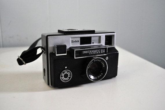 1970 Vintage Camera Kodak Instamatic 814 Simple Retro Black Silver Chrome Cool Design