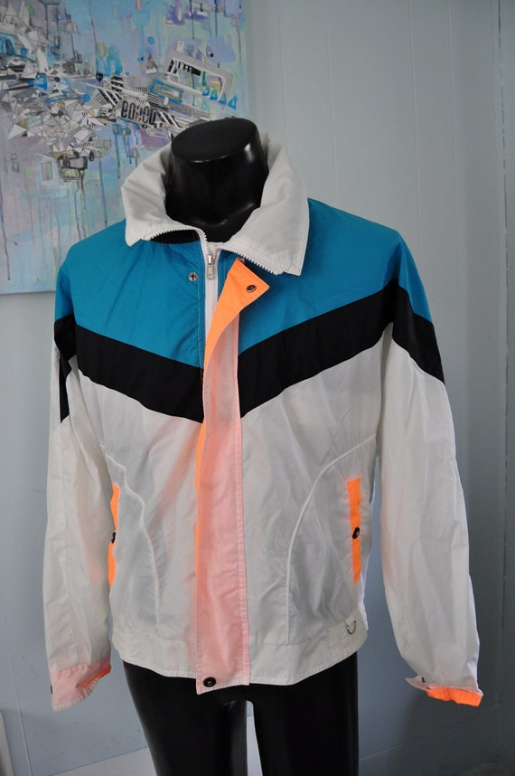 Vintage Neon Windbreaker by Horizon Track Jacket White Orange Black Turquoise Aqua Blue 80s 90s Medium Large