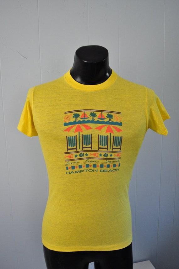 Burnout Tee Vintage Hampton Beach TShirt Yellow NH Super Soft n Thin Sailing 80s SMALL
