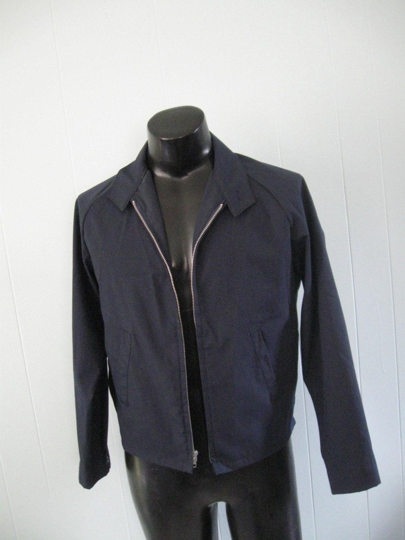 60s 70s Mechanic Jacket By Sir Jac Navy Blue Sweet Work Coat
