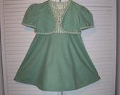 Vintage 60s 70s Girls Dress Matching  Bolero Jacket Children Clothing Size 4 5