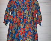 Vintage 70's Cinderella  Girls  Floral Long Sleeve  Dress Size 5