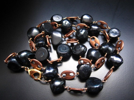 Copper and Black Pearl Long Necklace - Copper Links, 14K Gold Filled Wire and Dark Black Blue Freshwater Pearl