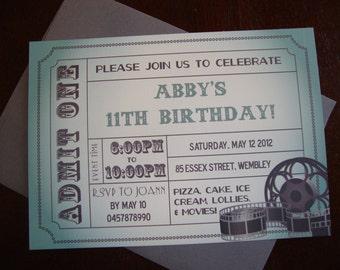 DIY Printable Movie Ticket Birthday Invitation