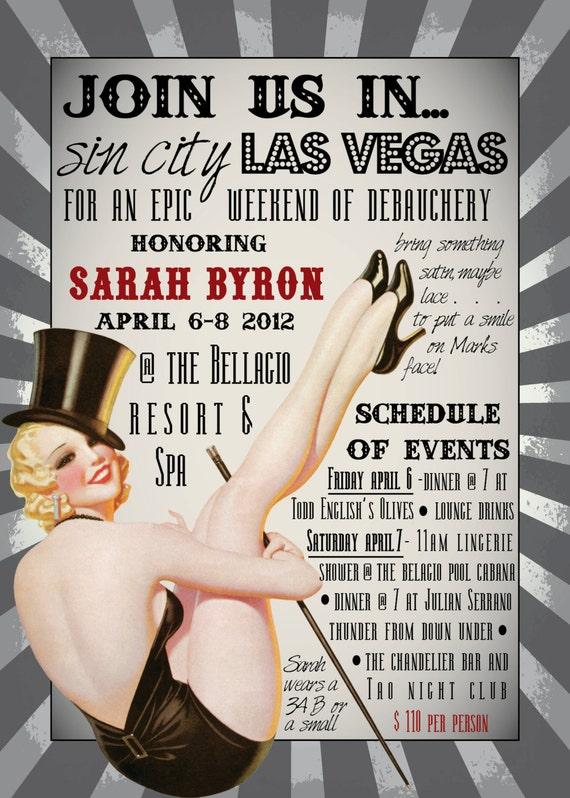 DIY Printable VEGAS Burlesque Bachelorette Party Invitation