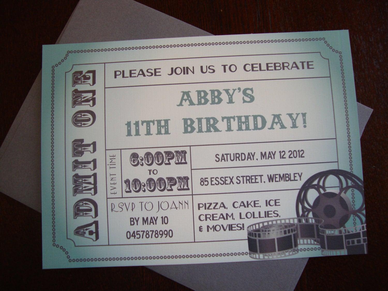 Diy printable movie ticket birthday invitation for Diy birthday invitations free