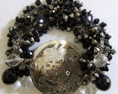 """Mother Of Pearl Dragon Clasp with Black Crystals on a Chainmail Bracelet 71/2-8"""" OOAK"""