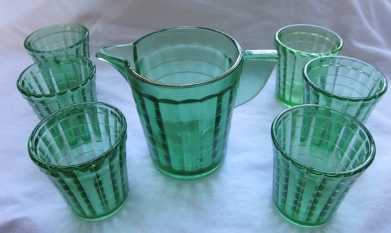 Akro Agate Jade Green Glass Water Set 7 Piece Child Size Lot
