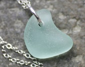 POWDER MOON. Blue Seaglass on Sterling Necklace