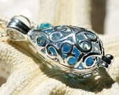 Mermaids Tears. Cornflower Blue Seaglass Teardrop Locket on Sterling Necklace