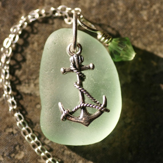 ANCHORS. Seafoam Seaglass on Sterling Silver Necklace