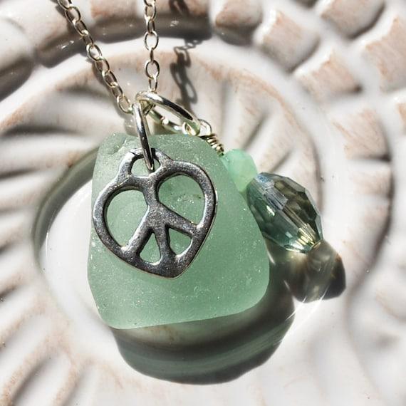 Peace & Love. Seafoam Seaglass on Sterling Necklace