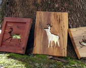 Black Gum Wood Deer Cutout Mirror