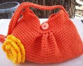 SALE  Orange Crocheted Cotton Pleated Bag with Yellow Orange Flower