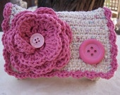 Special Price!  ~  Crocheted Purse  ~  Rose Pink and Ecru Tweed Crocheted Cotton Little Bit Purse