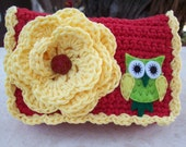 Apple Red and Sunshine Yellow with Owl Crocheted Cotton Little Bit Purse