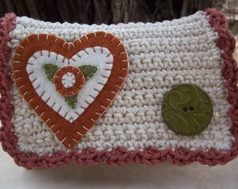Special Price!  ~  Crocheted Purse  ~  Ecru Rust and Olive Green with Heart Crocheted Little Bit Purse