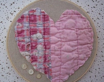 "Antique Quilt Wall Art  ~  8"" Embroidery Hoop Art with Antique Quilt Heart and Vintage Buttons"