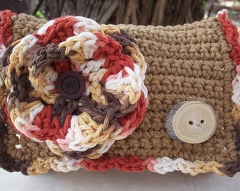 Crocheted Purse  ~  Army Tan and Variegated with Natural (Mulberry) Handmade Button Crocheted Cotton Little Bit Purse