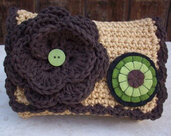 Special Price!  ~  Crocheted Purse  ~  Chocolate Brown and Army Tan with Wool Felt Penny Crocheted Cotton Little Bit Purse
