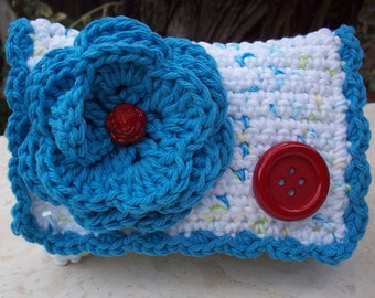 Crocheted Purse  ~  Turquoise, Red and Tweed with Button Crocheted Cotton Little Bit Purse