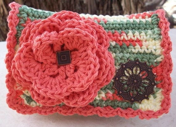 Coral and Variegated with Copper Filigree Flower Crocheted Cotton Little Bit Purse