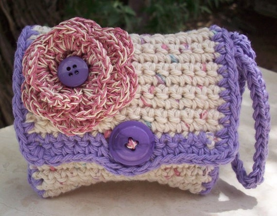 Ecru Tweed and Lavender with Flower Crocheted Cotton Perfectly Cute Coin Purse