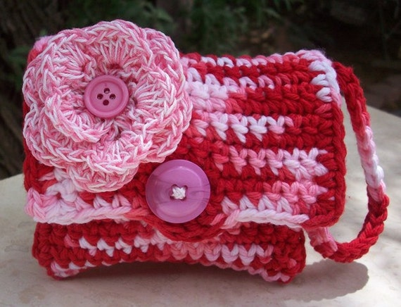 Ice Cream Pink, Red and White with Flower Crocheted Cotton Perfectly Cute Coin Purse