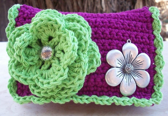 Abbey Rose and Apple Green with Silver Flower Crocheted Cotton Little Bit Purse
