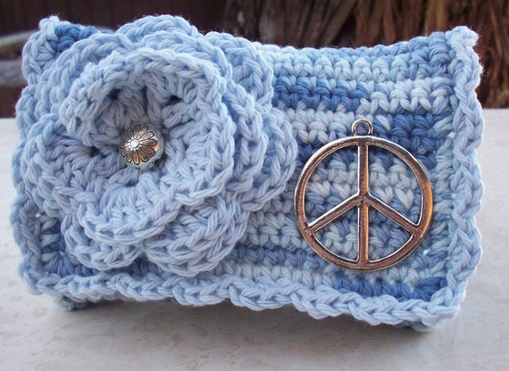 Blue, Baby Blue and Silver with Peace Sign Crocheted Cotton Little Bit Purse