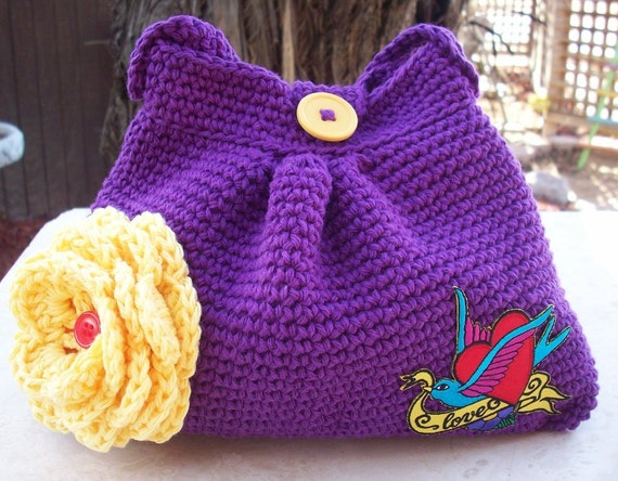 SALE  Purple Grape and Yellow with Clip Art Applique Patch Crocheted Cotton Pleated Bag