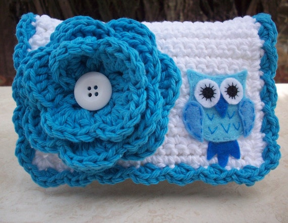 Turquoise and White with Owl Crocheted Cotton Little Bit Purse