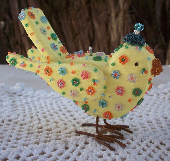 Yellow Beaded Flower Power Bird with Metal Feet  Be Unique Be Yourself  Be Free