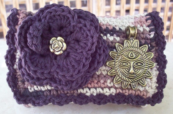 Coffee Bean and Camo Brown Variegated with Sun Face Crocheted Cotton Little Bit Purse