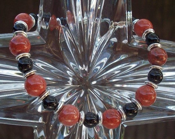 Sale 7 1/2 Inch Red Jasper and Jet (Magnetic Clasp) Bracelet