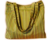 Large Repurposed Upholstery Pleated Tote