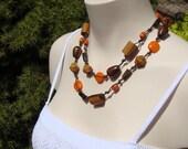 Long Boho Necklace in Wood and Tangerine Orange.