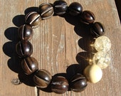 Espresso and Cream Chunky Wooden Stretch Bracelet