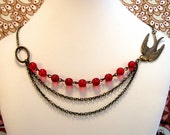 Song Bird-Antiqued Brass and Red Glass Layered Assymetrical Necklace