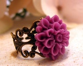 Whimsy- Antique Brass and Royal Purple Flower Ring