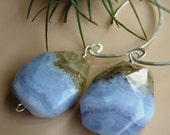 Blue Lace Agate and Sterling Earrings